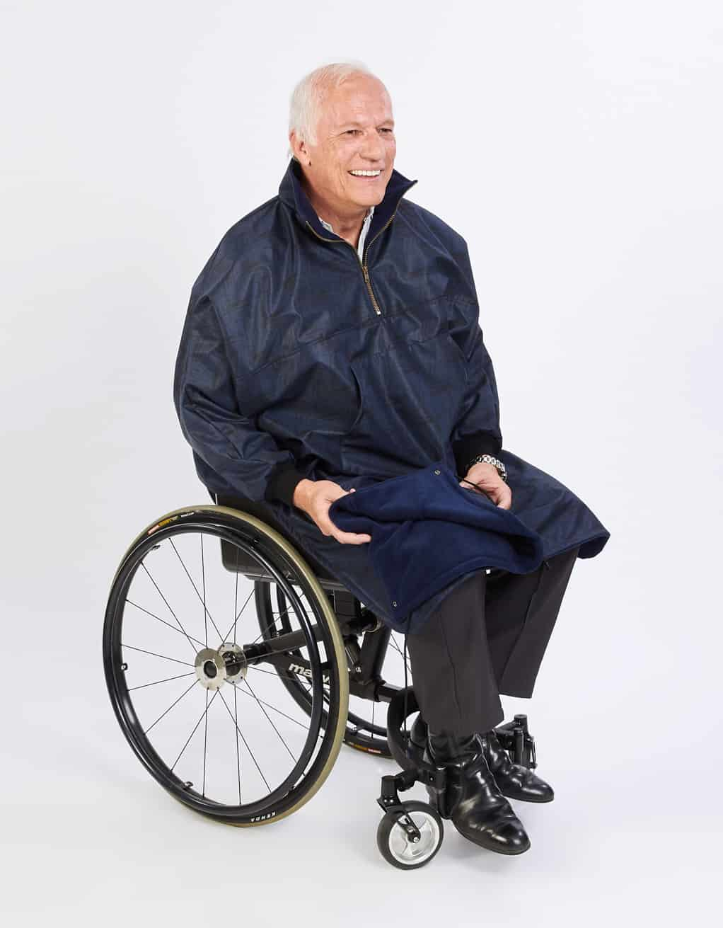 Winter cape for wheelchair, easy to put on, soft polyester shell, with  sleeves and detachable hood, waterproof